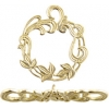 Brass Toggle Filligree Leaves 24mm